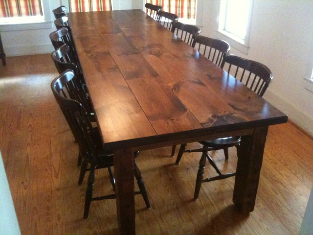 Reclaimed Antique Pine Dining Table Traditional Dining