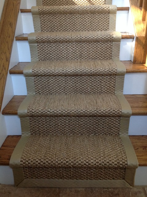 Wide binding sisal runners beach style new york by for Woven carpet for stairs