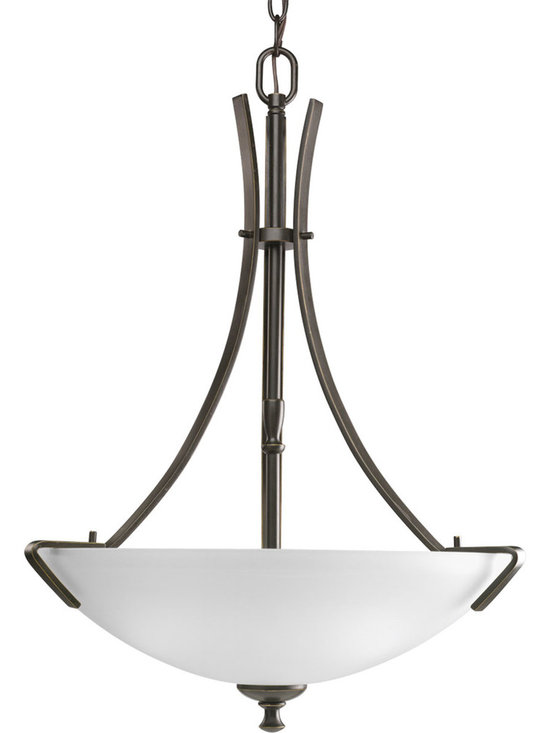 Progress Lighting Wisten Three-Light Hall & Foyer - Three-light CFL inverted pendant with arching, elegant arms and etched glass. Uses the latest dedicated GU-24 lamp technology and incorporates a minimalist design style.