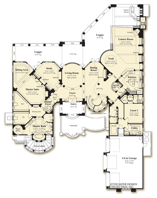 Sater design collection 39 s 8068 villa sabina home plan for Dan sater planimetrie mediterranee