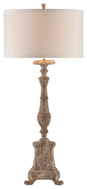 """Grand Cathedral 42""""H Carved Wood Linen Oval Shade Table Lamp transitional-table-lamps"""
