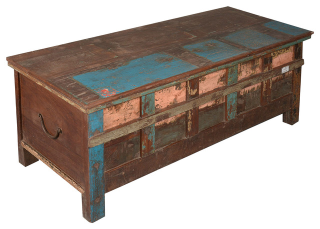 Rustic Reclaimed Wood Paint Patch Storage Trunk Chest eclectic-storage-bins-and-boxes
