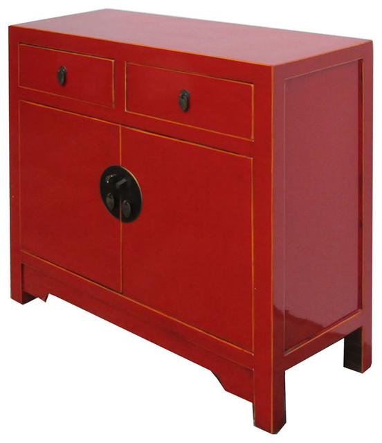 Red chinese moon face sideboard console table tv stand for Asian console cabinet