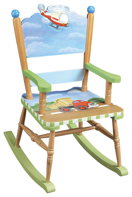 Teamson Kids Transportation Hand Painted Rocking Chair   Transitional .