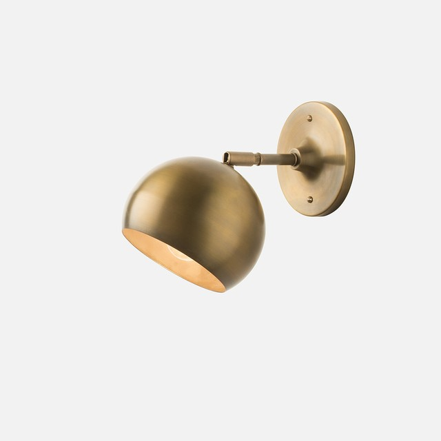 Schoolhouse Electric Wall Sconce : Isaac Sconce, Brass, Short Arm - Midcentury - Wall Sconces - by Schoolhouse Electric