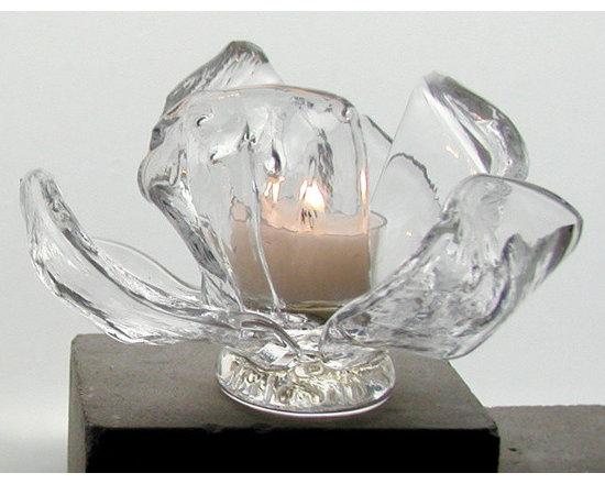 Elizabeth Lyons Glass Magnolia Tealight Holder -