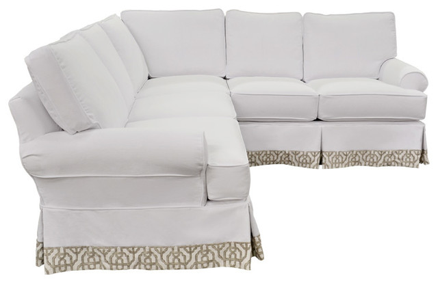 Beach Inspired Washable White Sectional Beach Style