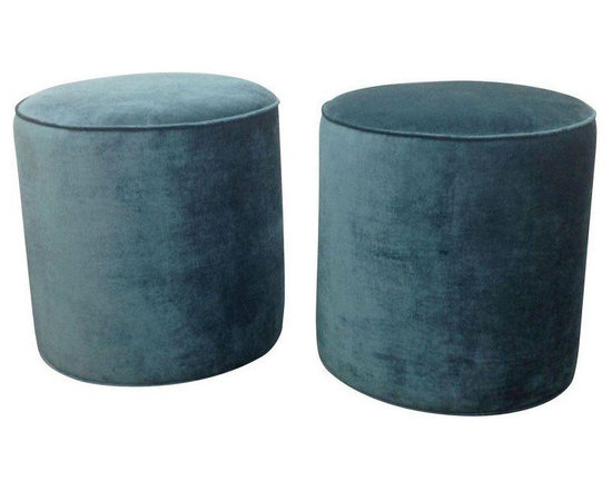 Teal Velvet Stools - A Pair - Dimensions 19.0ʺW × 19.0ʺD × 19.0ʺH