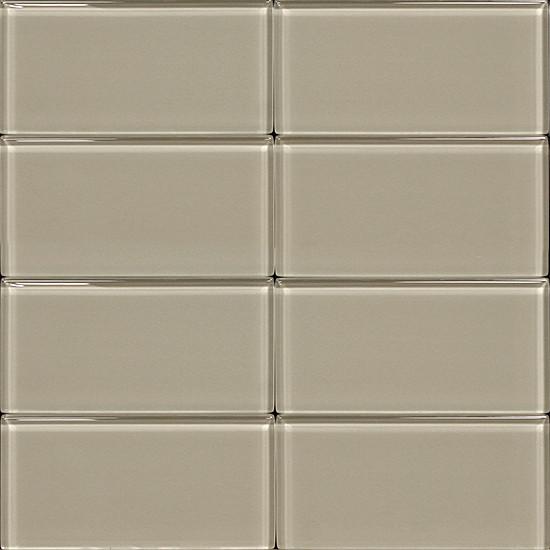3x6 Glass Subway Tile Light Gray Contemporary Tile