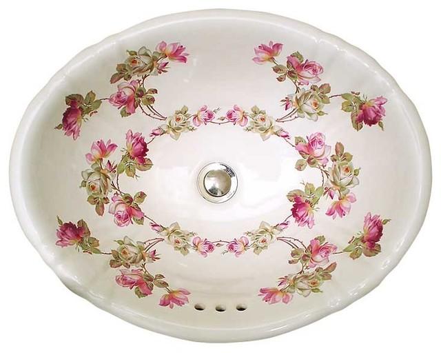 Hand Painted Sinks : Heirloom Roses Hand Painted Sink - Traditional - Bathroom Sinks - las ...