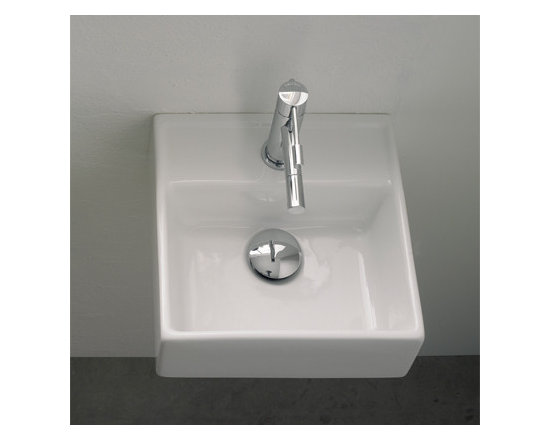 "Small Square Wall Mounted Bathroom Sink - Small square bathroom sink made of white ceramic. Wall mounted sink includes one faucet hole. Sink dimensions: 11.8"" x 11.7"""