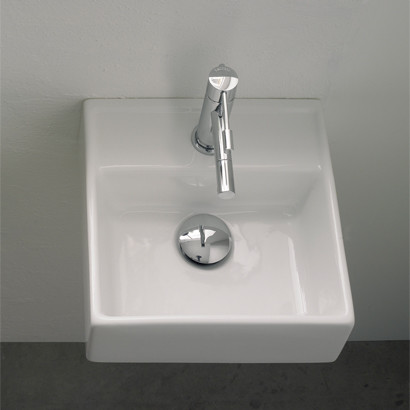 Small square wall mounted bathroom sink modern for Tiny bathroom sink