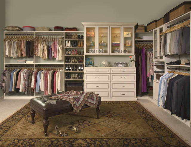 White Closet with Built-in Cabinets traditional closet