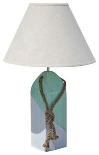 buoy lamp aqua white diagonal with linen shade beach. Black Bedroom Furniture Sets. Home Design Ideas