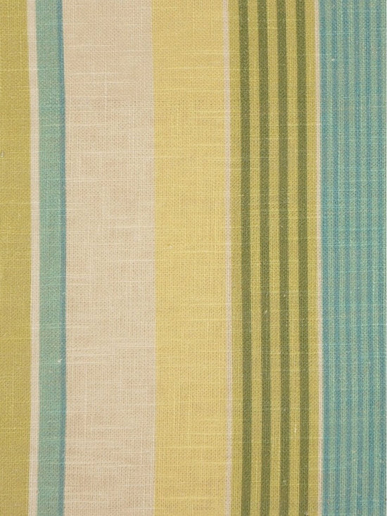 Phoebe Printed Vertical Stripe Linen Custom Made Curtains - Create a casual mood in your space with this style of candy-colored vertical stripes in blue, green, beige or cream. Panels are woven from 100% pure linen and pair well with other home decor.