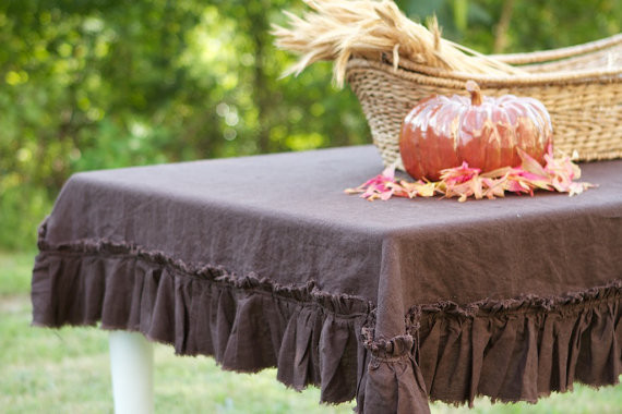 Chocolate Linen Raw Ruffle Tablecloth traditional table linens
