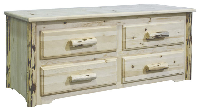 Montana Woodworks 4-Drawer Sitting Chest in Clear Lacquer rustic-dressers