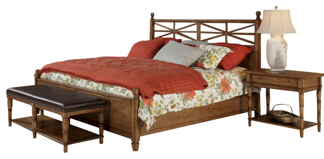American Drew Americana Home 4 Piece Poster Bedroom Set In Warm Oak Traditional Beds By