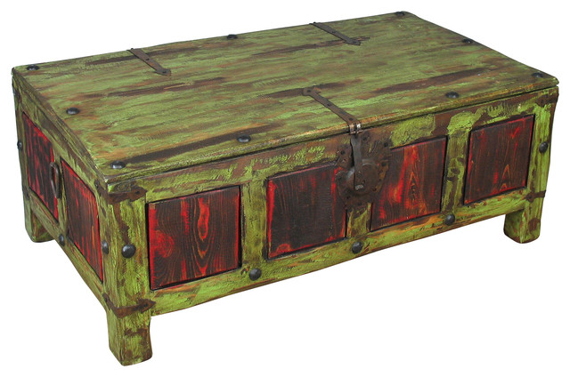 Painted Wood Coffee Table Trunk Green Red Rustic Coffee Tables