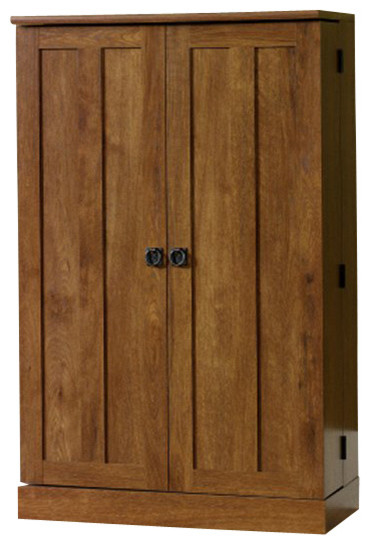 Sauder August Hill Multimedia Storage Cabinet in Oiled Oak transitional-storage-cabinets