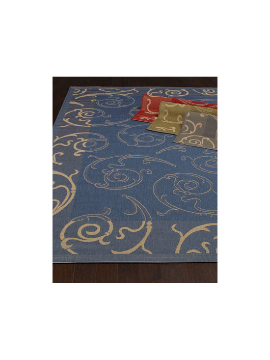 "Safavieh - Safavieh ""Giddings Scroll"" Indoor/Outdoor Rug - This rug's bold ground features a unique, light swirl pattern in its center and an outside border featuring the same swirl pattern in a complementary darker shade. Power loomed of polypropylene. Select color when ordering. Outdoor safe. Sizes are a..."