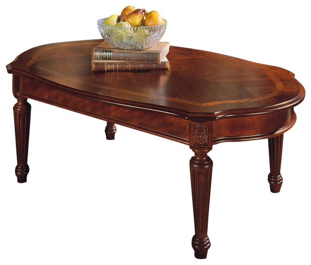Magnussen sedona oval cherry wood cocktail table for Oval cherry wood coffee table