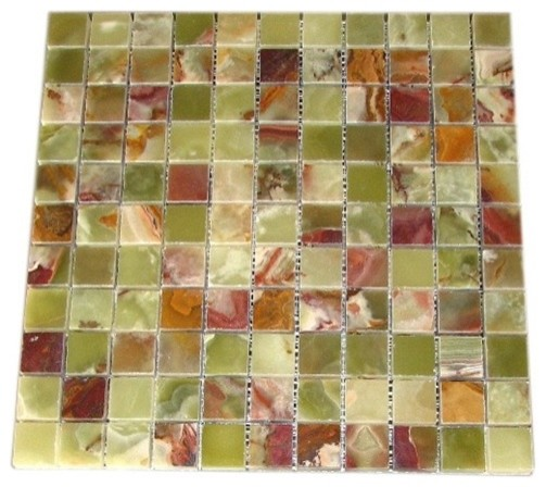 1 x 1 green onyx polished mosaic tiles contemporary
