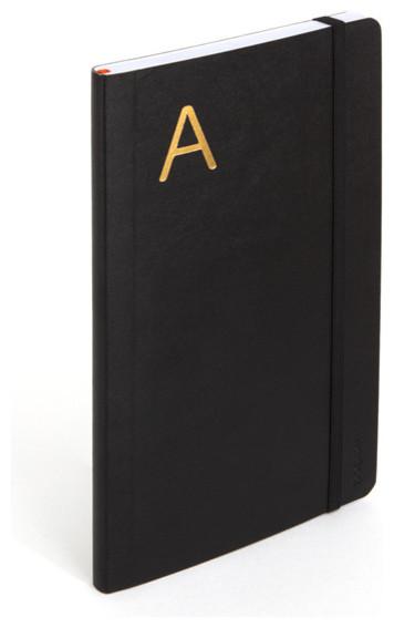 Personalized Soft Cover Notebook, Black, Medium modern-desk-accessories