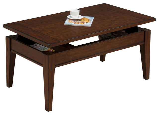 Lift Top Cocktail Table With Oak Veneer Contemporary Coffee Tables