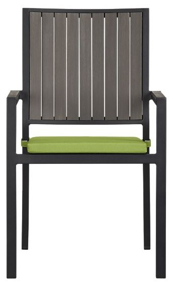 Alfresco Grey Dining Chair with Sunbrella Kiwi Cushion modern outdoor chairs