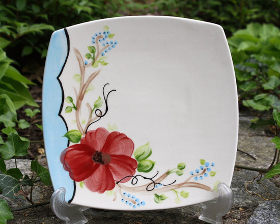 Hand Painted Floral Appetizer Platter - This beautiful hand painted appetizer platter is a perfect gift for the hostess you will be visiting or add it to your collection. Soft light blue scalloped painted edge is accompanied with a red flower. Dramatic colors!