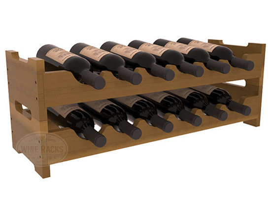 12 Bottle Mini Scalloped Wine Rack in Redwood with Oak Stain + Satin Finish - Stack two 6 bottle scalloped racks for a decorative 12 bottle rack using pressure-fit dowels for easy assembly. Makes for a perfect gift and stores wine on any flat surface.