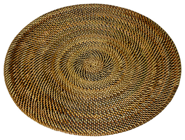 Round Nito Placemat Set Of 2 Brown Contemporary