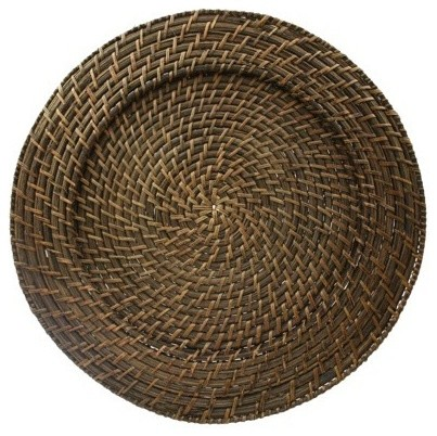 Round Rattan Chargers traditional-tabletop