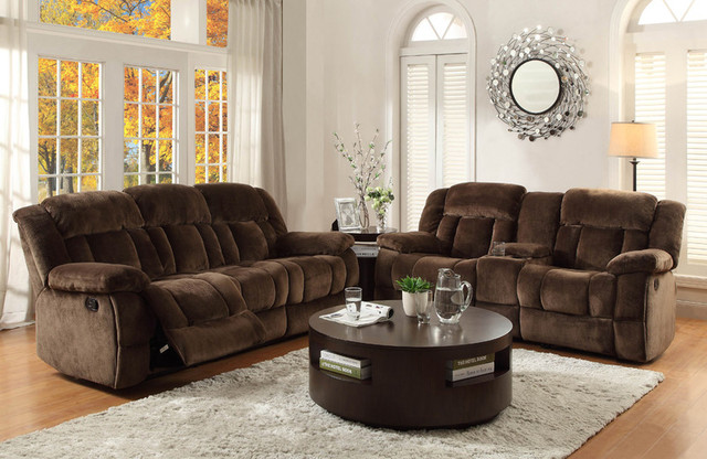 Chocolate Microfiber Reclining Sofa Loveseat Cup Holder