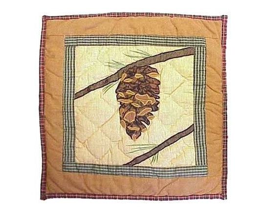 Patch Magic - Pinecone Toss Pillow - 16 in. W x 16 in. L. 100% Cotton. Machine washable.. Line or flat dry onlyDecorative applique Quilted Pillow.