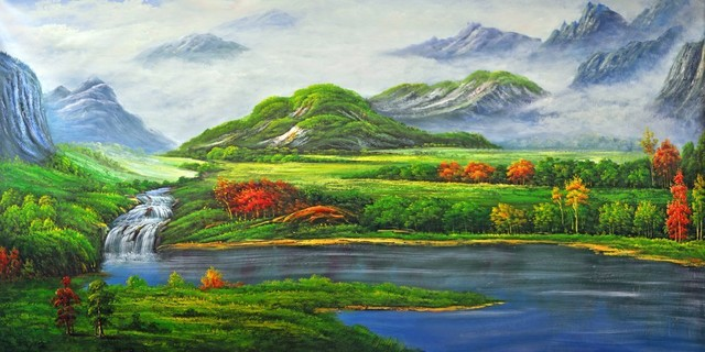 Lake landscape nature wall mural 8 feet 11 inch by 4 feet for Mural nature