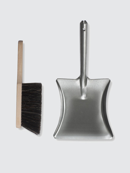 Galvanised Dustpan with Wooden Brush -