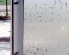 Decorative Window Film in Etched Leaf modern-window-film