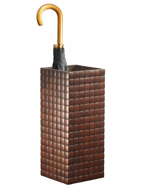 Barclay Umbrella Stand, Mahogany - Made up of individually finished Mahogany tiles, the barclay gives off an air of distinction and hand crafted excellence. Made of solid plantation grown mahogany offcut tiles.