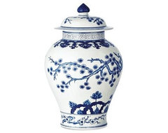 Blue & White Swallowtail Temple Ginger Jar asian-vases