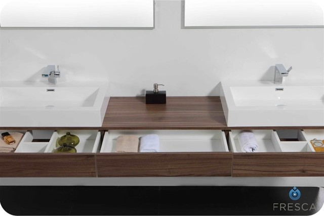 Fresca ciron modern double sink bathroom vanity for Modern bathroom sink and vanity