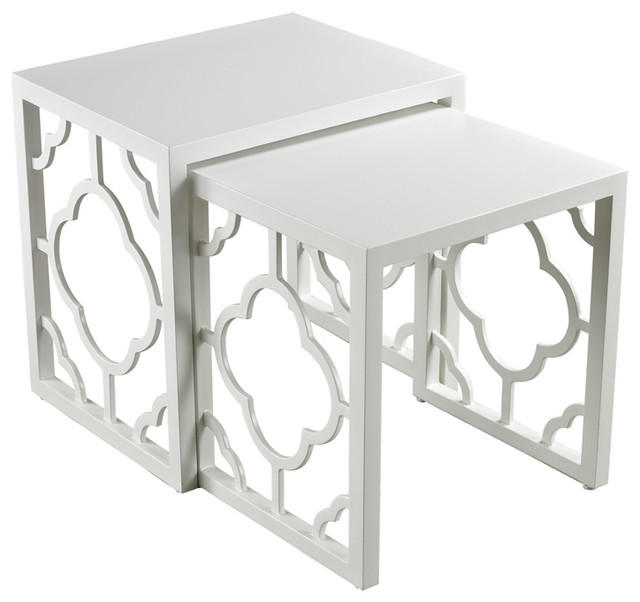 Sterling 136-007/S2 Gloss White Nesting Table transitional-side-tables-and-end-tables