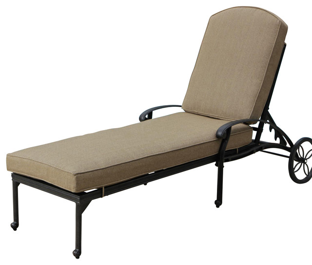 Rosedown cast aluminum patio chaise lounge transitional for Aluminum chaise lounges