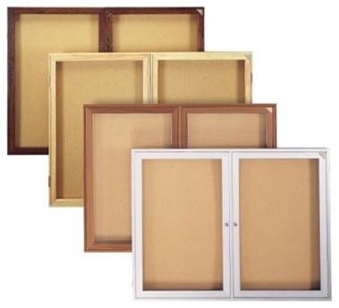 Enclosed bulletin board 1 door modern bulletin board for Modern cork board