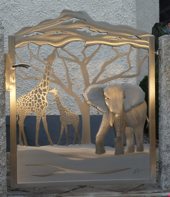 "Stainless Steel Gate ""Out Of Africa"", Edelstahl Tor"
