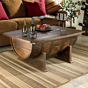 Handmade Vintage Oak Whiskey Barrel Coffee Table eclectic-coffee-tables