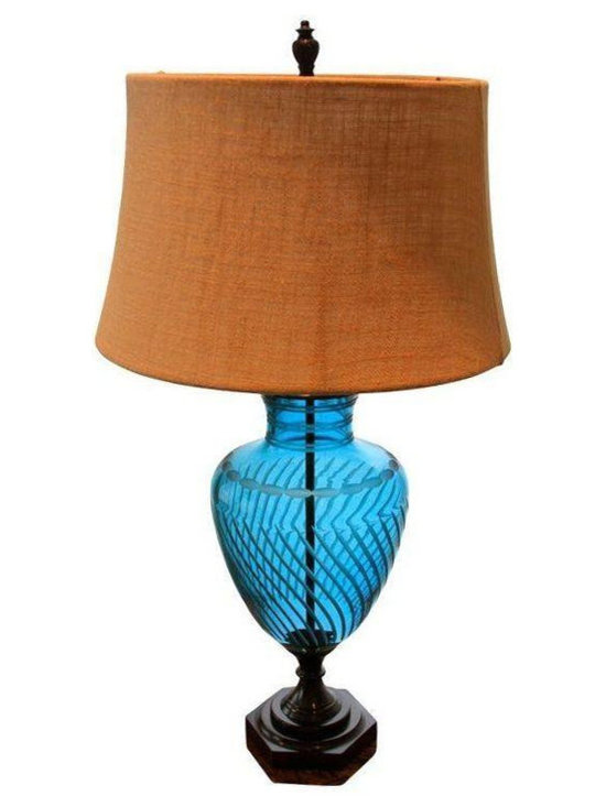 English Crystal-Bronze Table Lamps - A Pair -