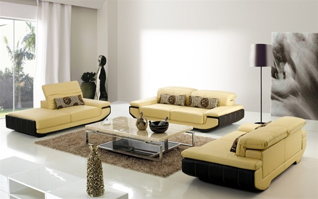 Contemporary Leather Sofa Living Room Set 640 x 400