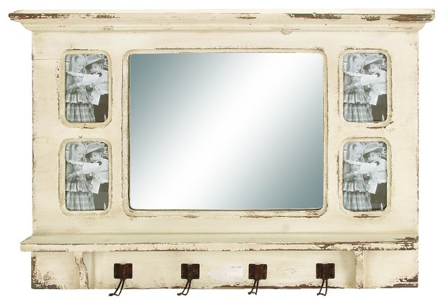 Vintage Finish Style Wood Wall Shelf with Hooks 4 Frame Mirrored Decor 20405 - Rustic - Display ...